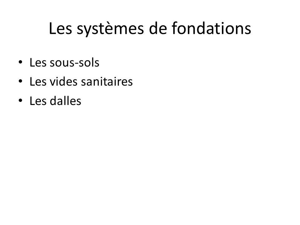 Les systèmes de fondations Les sous-sols Les vides sanitaires Les dalles