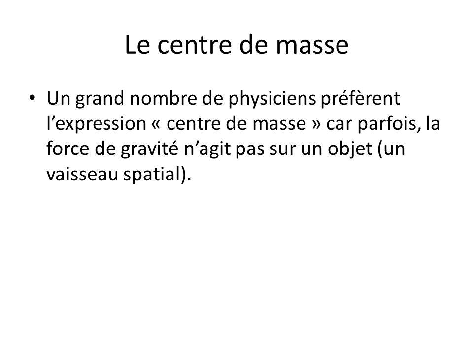 Le centre de masse Un grand nombre de physiciens préfèrent lexpression « centre de masse » car parfois, la force de gravité nagit pas sur un objet (un vaisseau spatial).