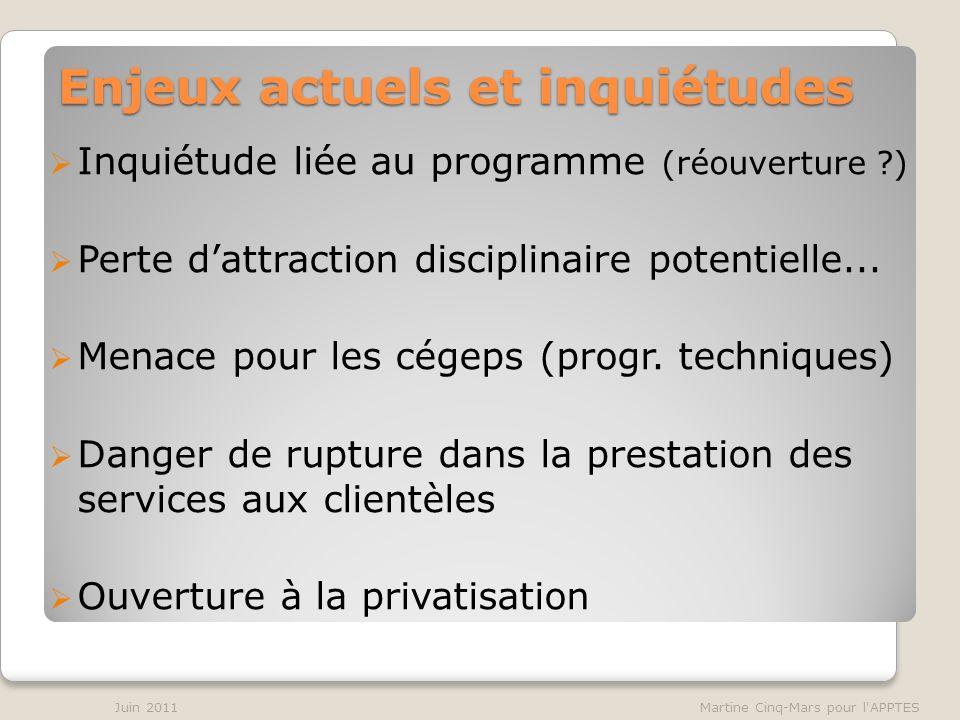 Enjeux actuels et inquiétudes Inquiétude liée au programme (réouverture ) Perte dattraction disciplinaire potentielle...