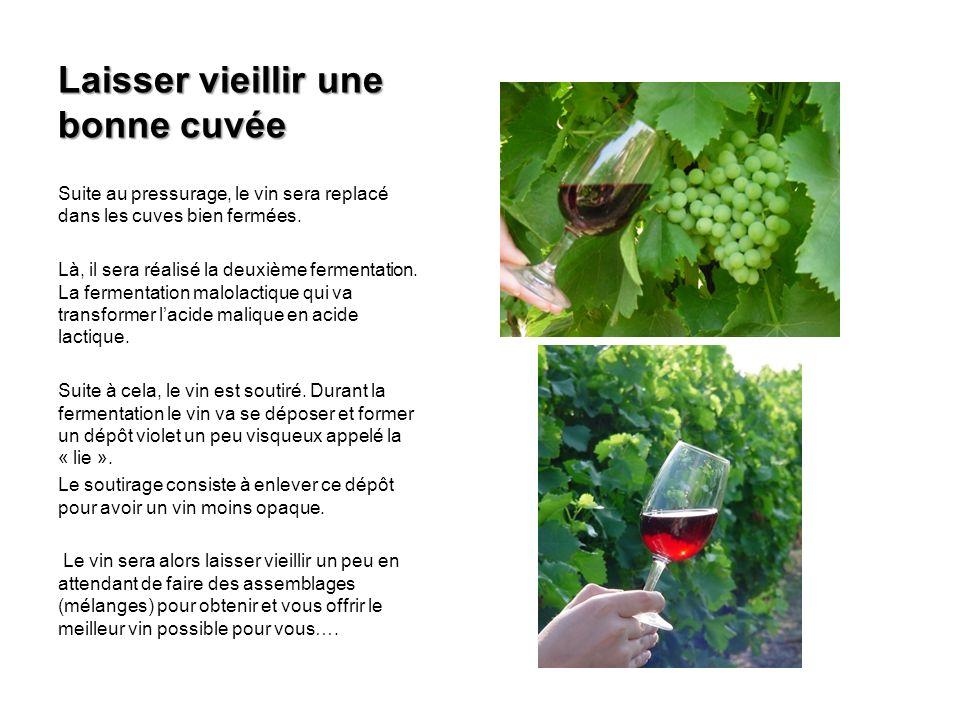 Laisser vieillir une bonne cuvée Suite au pressurage, le vin sera replacé dans les cuves bien fermées. Là, il sera réalisé la deuxième fermentation. L