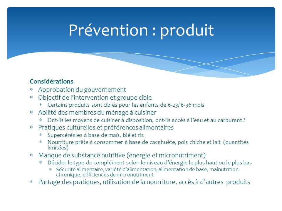 Considérations Approbation du gouvernement Objectif de lintervention et groupe cible Certains produits sont ciblés pour les enfants de 6-23/ 6-36 mois