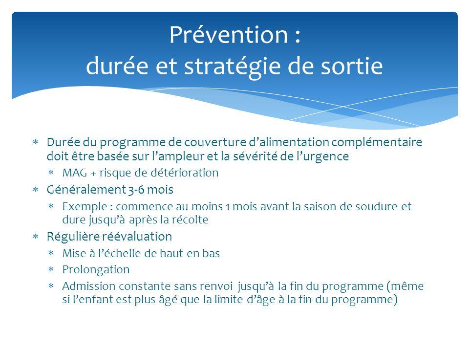 Durée du programme de couverture dalimentation complémentaire doit être basée sur lampleur et la sévérité de lurgence MAG + risque de détérioration Gé