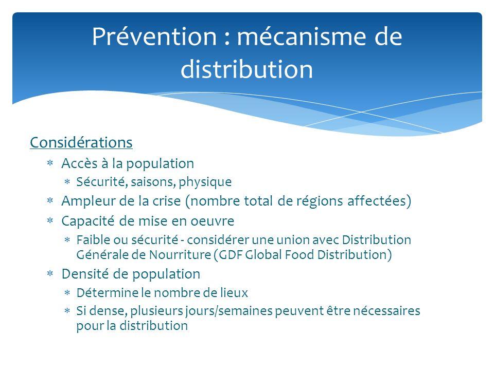 Considérations Accès à la population Sécurité, saisons, physique Ampleur de la crise (nombre total de régions affectées) Capacité de mise en oeuvre Fa