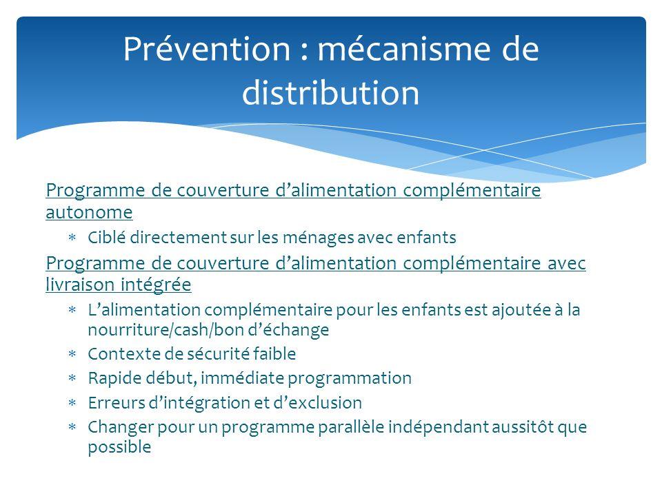 Programme de couverture dalimentation complémentaire autonome Ciblé directement sur les ménages avec enfants Programme de couverture dalimentation com