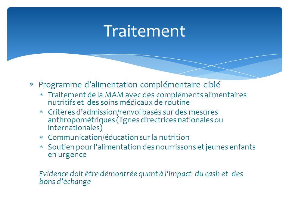 Programme dalimentation complémentaire ciblé Traitement de la MAM avec des compléments alimentaires nutritifs et des soins médicaux de routine Critère