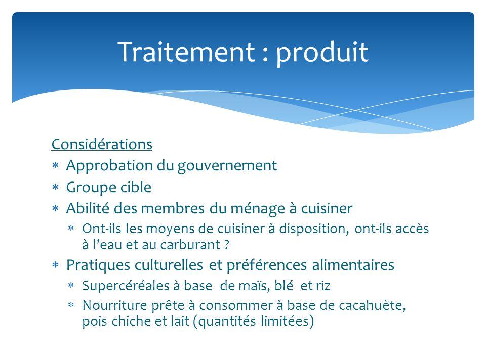 Considérations Approbation du gouvernement Groupe cible Abilité des membres du ménage à cuisiner Ont-ils les moyens de cuisiner à disposition, ont-ils accès à leau et au carburant .