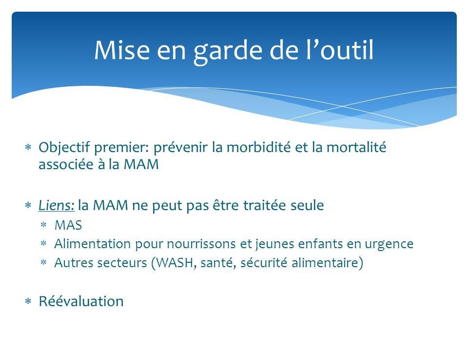 Objectif premier: prévenir la morbidité et la mortalité associée à la MAM Liens: la MAM ne peut pas être traitée seule MAS Alimentation pour nourrissons et jeunes enfants en urgence Autres secteurs (WASH, santé, sécurité alimentaire) Réévaluation Mise en garde de loutil