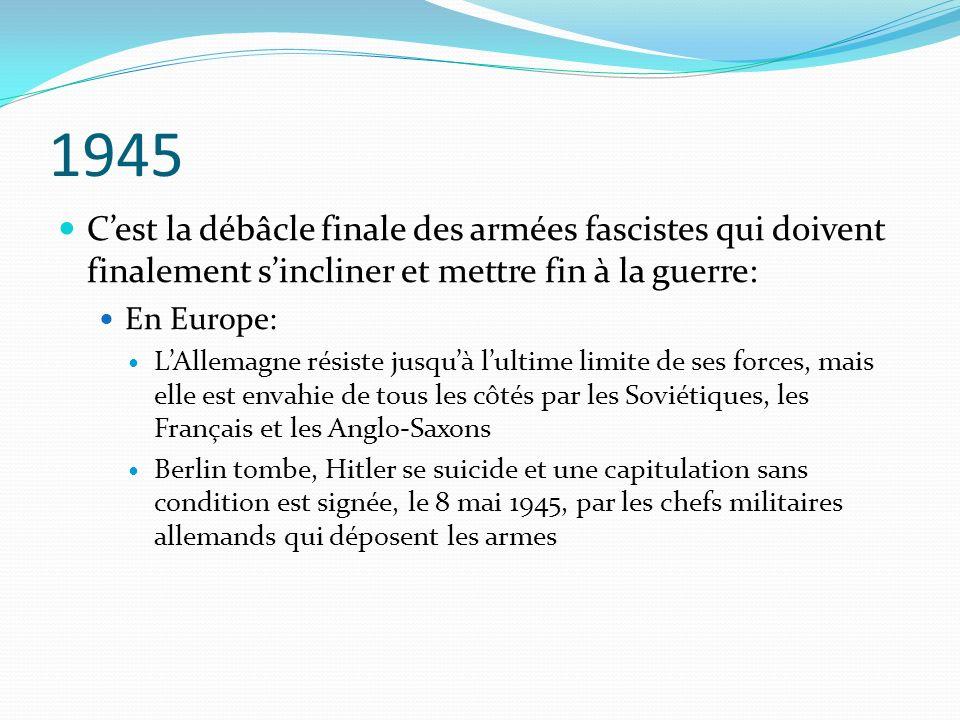 1945 Cest la débâcle finale des armées fascistes qui doivent finalement sincliner et mettre fin à la guerre: En Europe: LAllemagne résiste jusquà lult