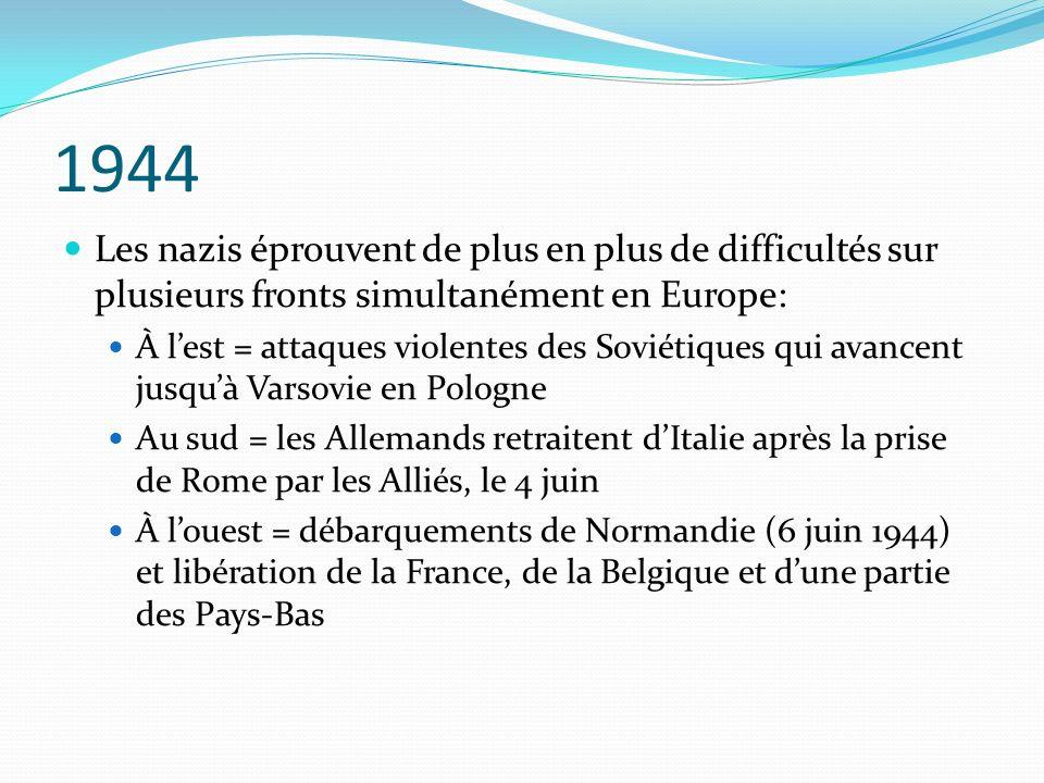 1944 Les nazis éprouvent de plus en plus de difficultés sur plusieurs fronts simultanément en Europe: À lest = attaques violentes des Soviétiques qui avancent jusquà Varsovie en Pologne Au sud = les Allemands retraitent dItalie après la prise de Rome par les Alliés, le 4 juin À louest = débarquements de Normandie (6 juin 1944) et libération de la France, de la Belgique et dune partie des Pays-Bas
