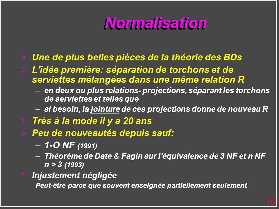 10 Normalisation H Une de plus belles pièces de la théorie des BDs H L'idée première: séparation de torchons et de serviettes mélangées dans une même