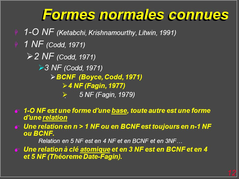 12 Formes normales connues H 1-O NF (Ketabchi, Krishnamourthy, Litwin, 1991) H 1 NF (Codd, 1971) 2 NF (Codd, 1971) 3 NF (Codd, 1971) BCNF (Boyce, Codd