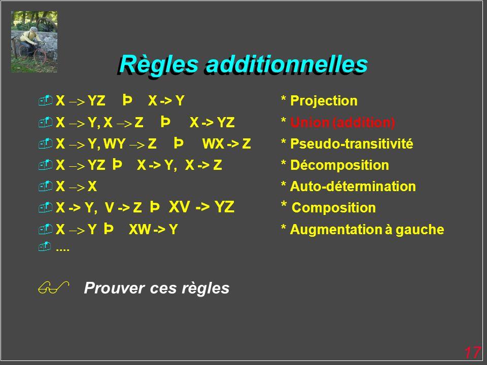 17 Règles additionnelles X YZ Þ X -> Y* Projection X Y, X Z Þ X -> YZ* Union (addition) X Y, WY Z Þ WX -> Z* Pseudo-transitivité X YZ Þ X -> Y, X -> Z