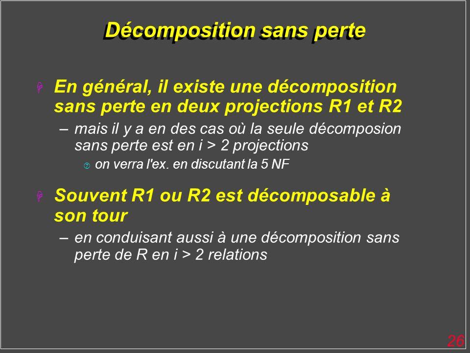 26 Décomposition sans perte H En général, il existe une décomposition sans perte en deux projections R1 et R2 –mais il y a en des cas où la seule déco