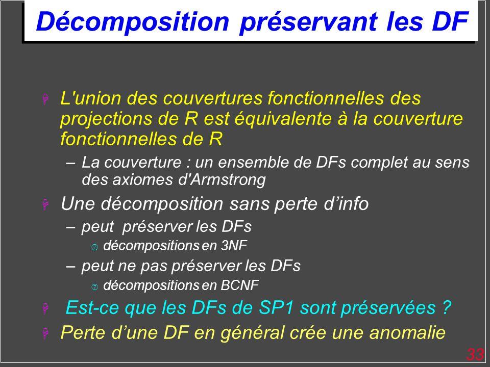 33 Décomposition préservant les DF H L'union des couvertures fonctionnelles des projections de R est équivalente à la couverture fonctionnelles de R –