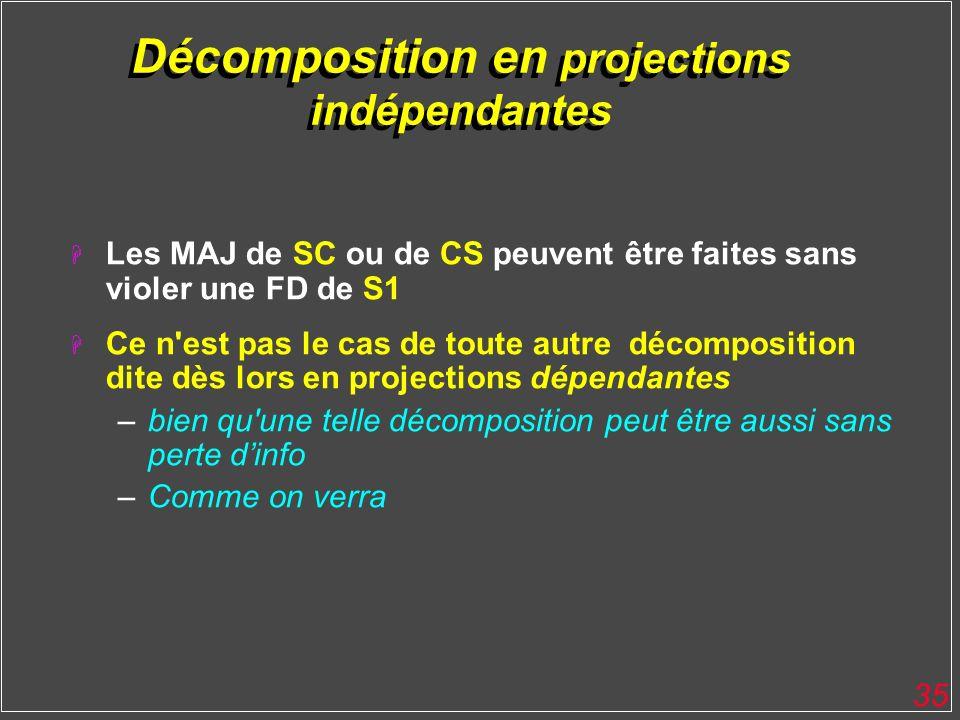 35 Décomposition en projections indépendantes H Les MAJ de SC ou de CS peuvent être faites sans violer une FD de S1 H Ce n'est pas le cas de toute aut