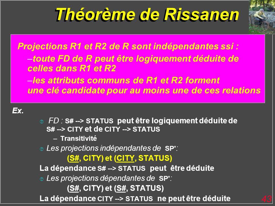 43 Théorème de Rissanen H Projections R1 et R2 de R sont indépendantes ssi : –toute FD de R peut être logiquement déduite de celles dans R1 et R2 –les