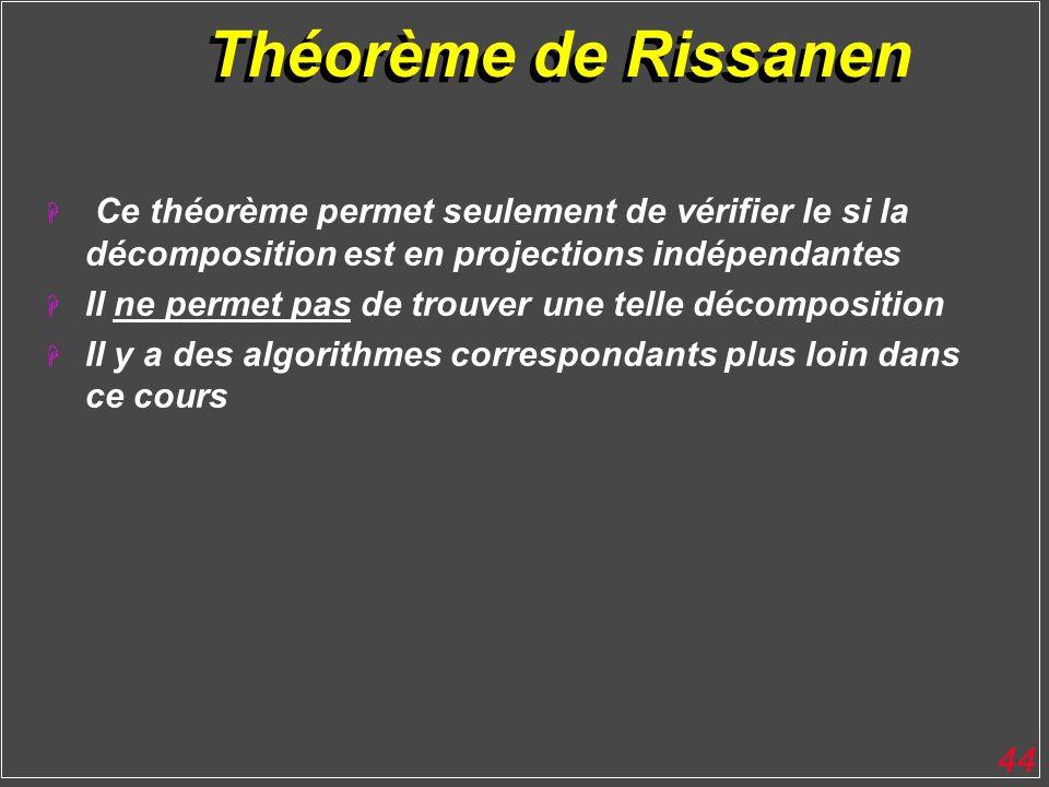 44 Théorème de Rissanen H Ce théorème permet seulement de vérifier le si la décomposition est en projections indépendantes H Il ne permet pas de trouv