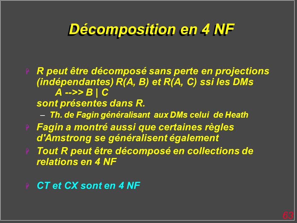 63 Décomposition en 4 NF H R peut être décomposé sans perte en projections (indépendantes) R(A, B) et R(A, C) ssi les DMs A -->> B | C sont présentes