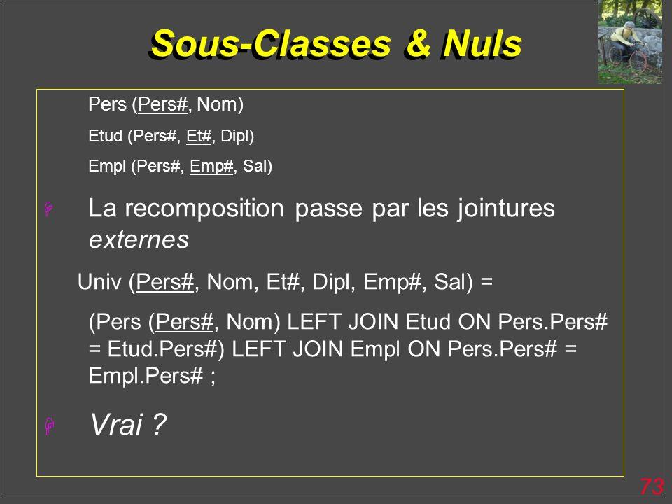 73 Sous-Classes & Nuls Pers (Pers#, Nom) Etud (Pers#, Et#, Dipl) Empl (Pers#, Emp#, Sal) H La recomposition passe par les jointures externes Univ (Per