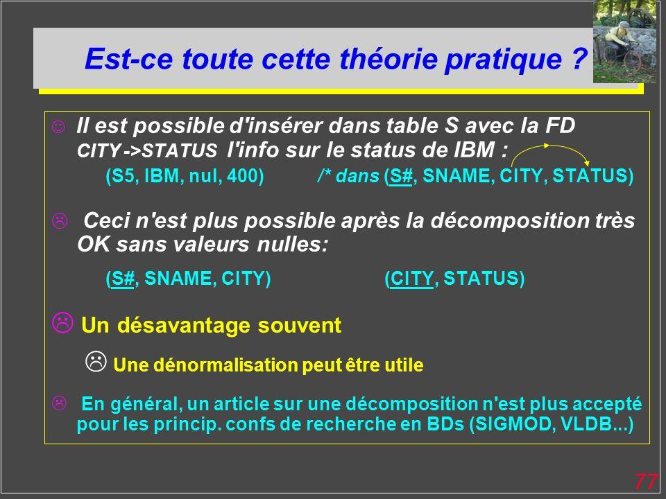 77 Est-ce toute cette théorie pratique ? Il est possible d'insérer dans table S avec la FD CITY ->STATUS l'info sur le status de IBM : (S5, IBM, nul,