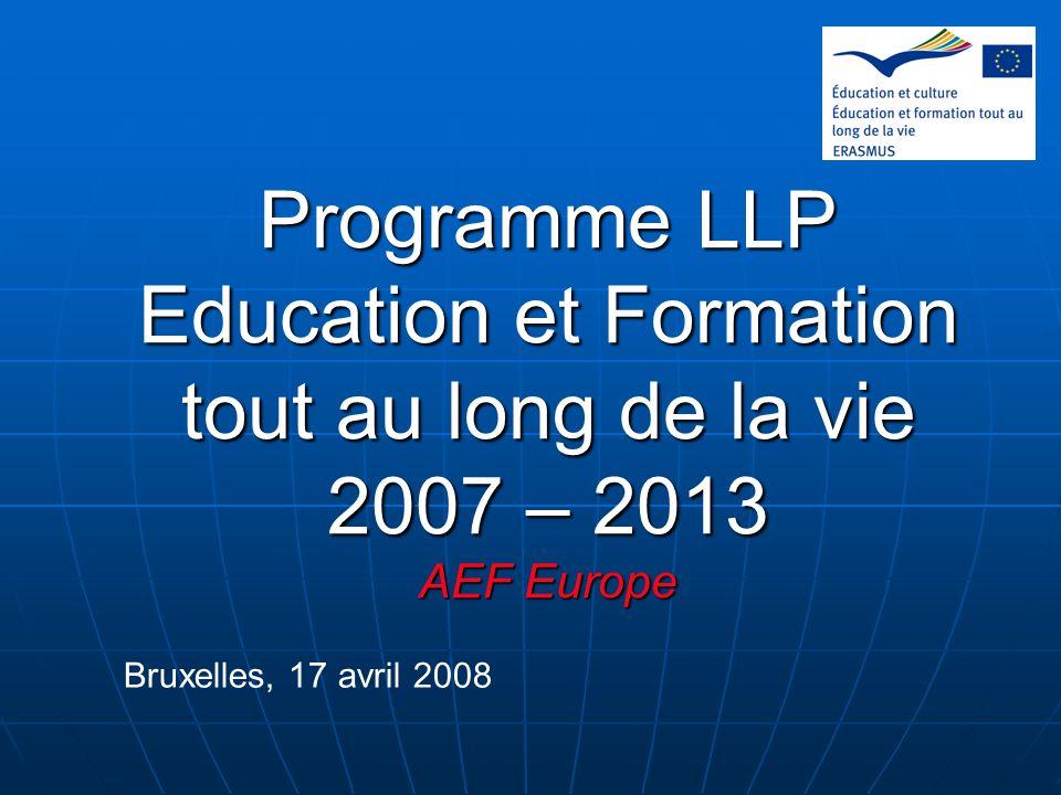 Programme LLP Education et Formation tout au long de la vie 2007 – 2013 AEF Europe Bruxelles, 17 avril 2008