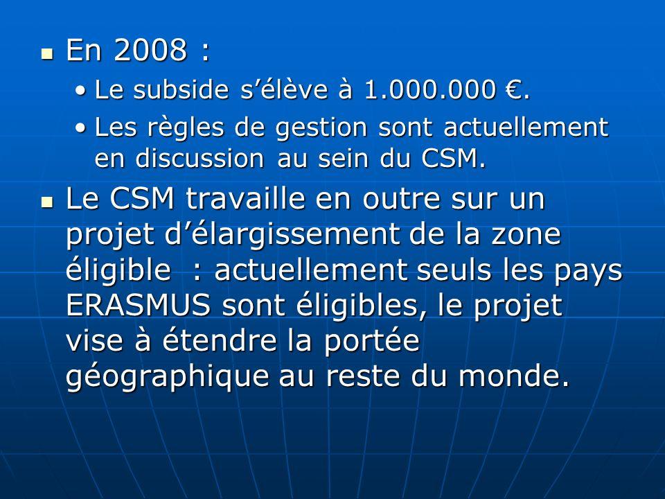 En 2008 : En 2008 : Le subside sélève à 1.000.000.Le subside sélève à 1.000.000. Les règles de gestion sont actuellement en discussion au sein du CSM.