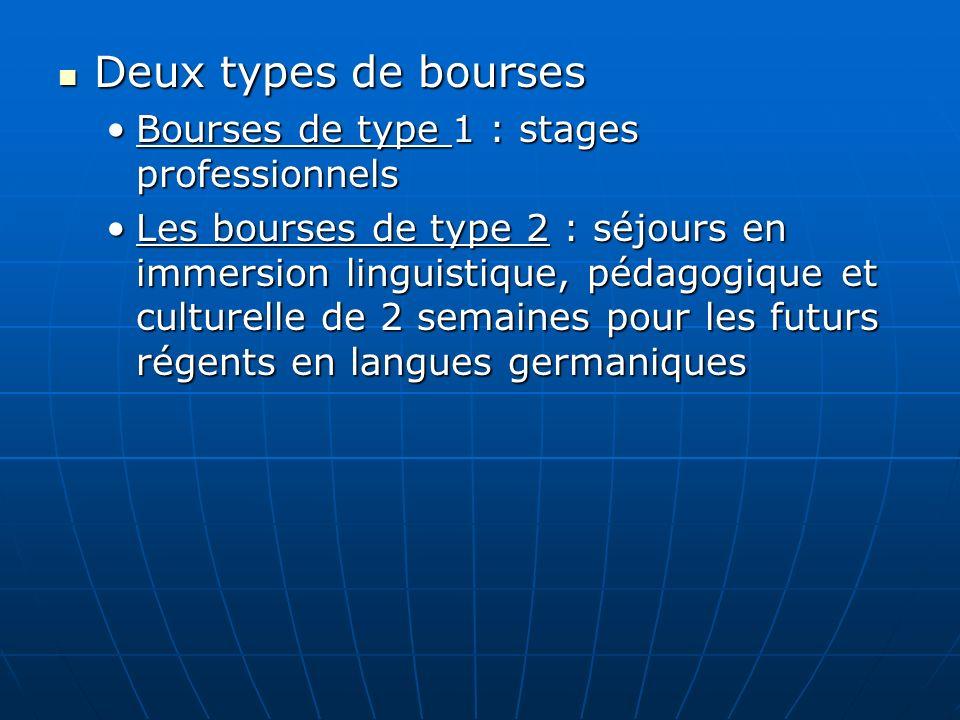 Deux types de bourses Deux types de bourses Bourses de type 1 : stages professionnelsBourses de type 1 : stages professionnels Les bourses de type 2 :