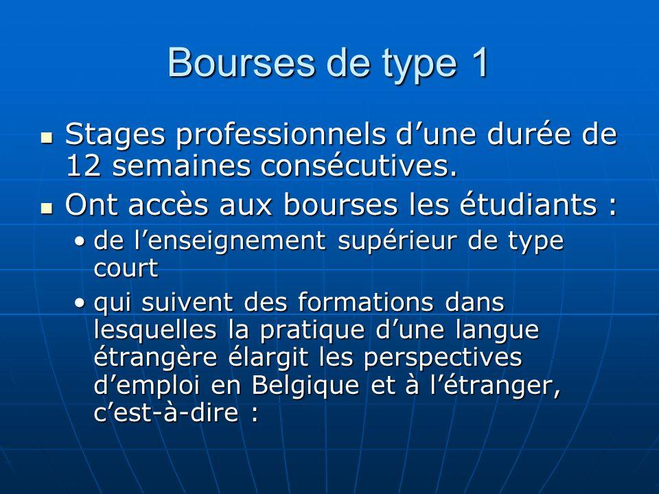 Bourses de type 1 Stages professionnels dune durée de 12 semaines consécutives. Stages professionnels dune durée de 12 semaines consécutives. Ont accè