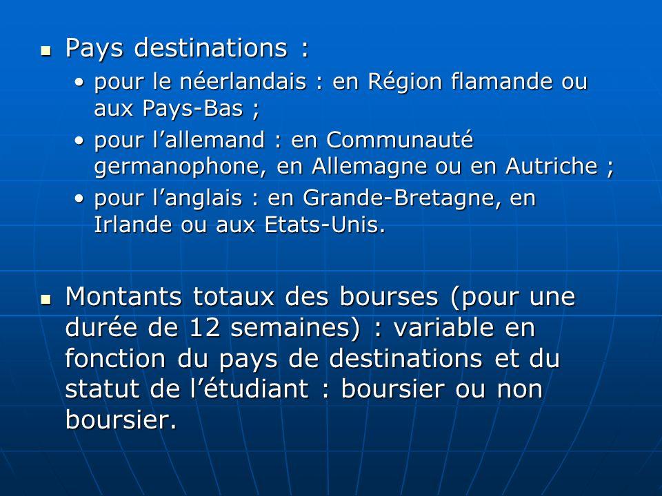 Pays destinations : Pays destinations : pour le néerlandais : en Région flamande ou aux Pays-Bas ;pour le néerlandais : en Région flamande ou aux Pays