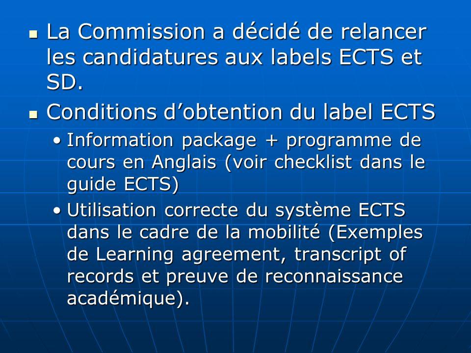 La Commission a décidé de relancer les candidatures aux labels ECTS et SD. La Commission a décidé de relancer les candidatures aux labels ECTS et SD.