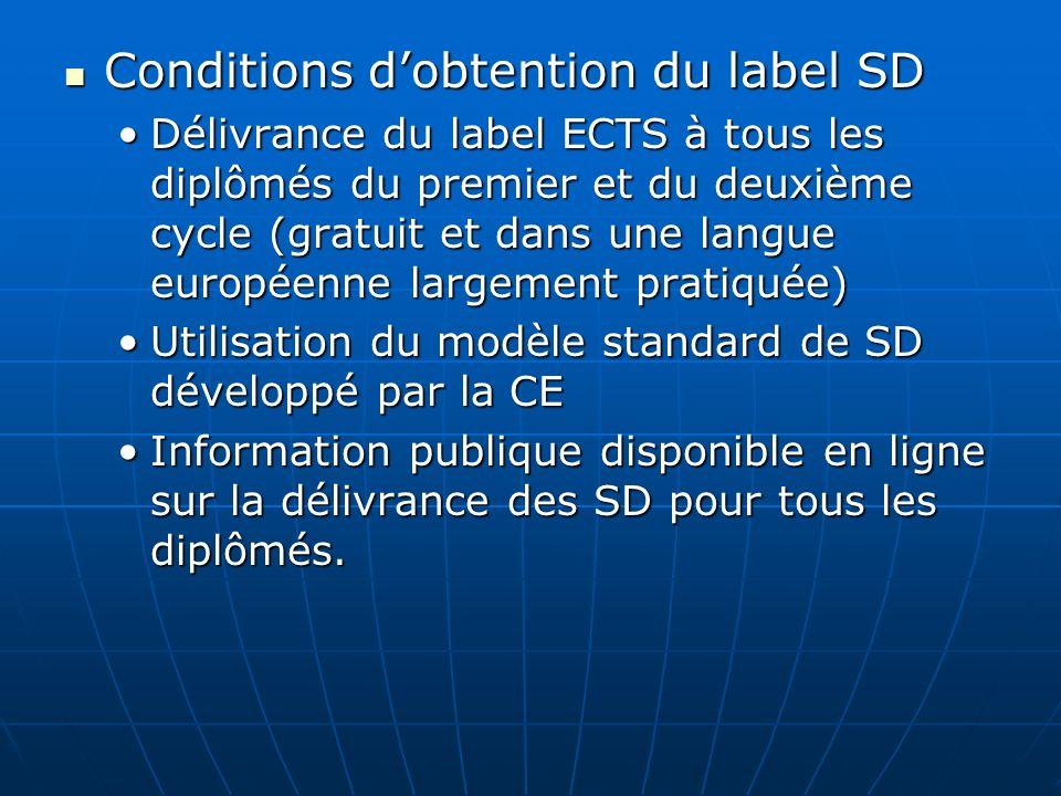 Conditions dobtention du label SD Conditions dobtention du label SD Délivrance du label ECTS à tous les diplômés du premier et du deuxième cycle (grat