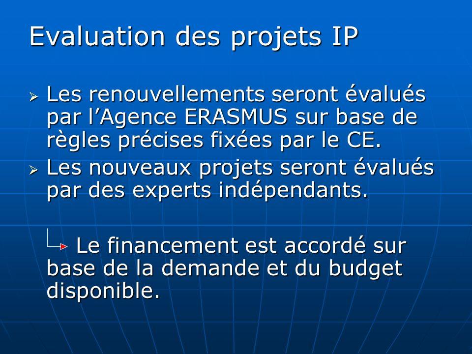 Evaluation des projets IP Les renouvellements seront évalués par lAgence ERASMUS sur base de règles précises fixées par le CE. Les renouvellements ser