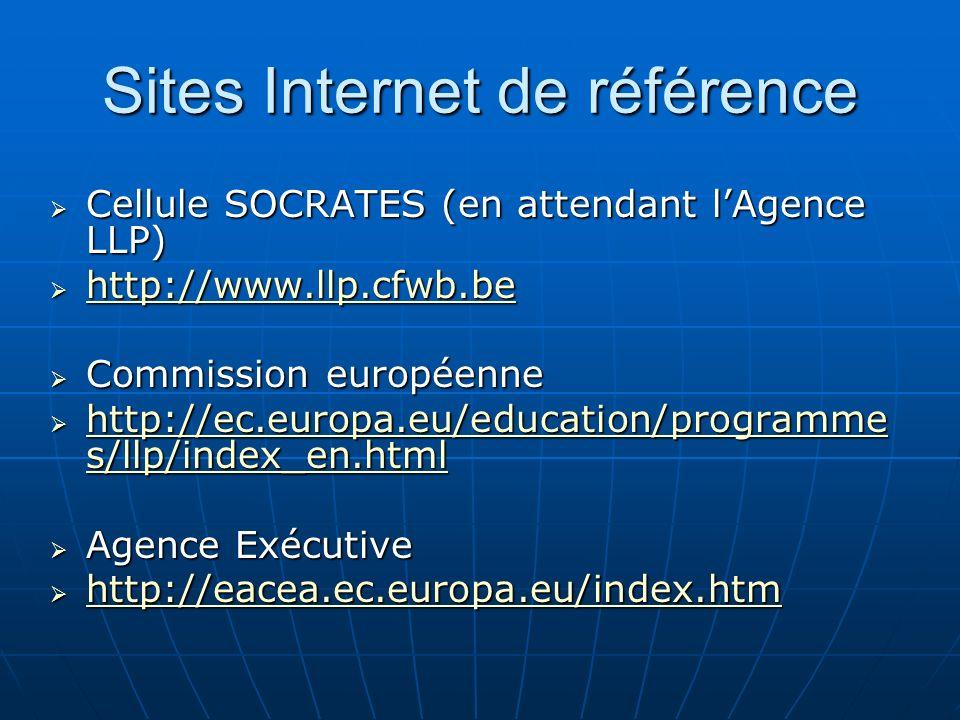 Sites Internet de référence Cellule SOCRATES (en attendant lAgence LLP) Cellule SOCRATES (en attendant lAgence LLP) http://www.llp.cfwb.be http://www.
