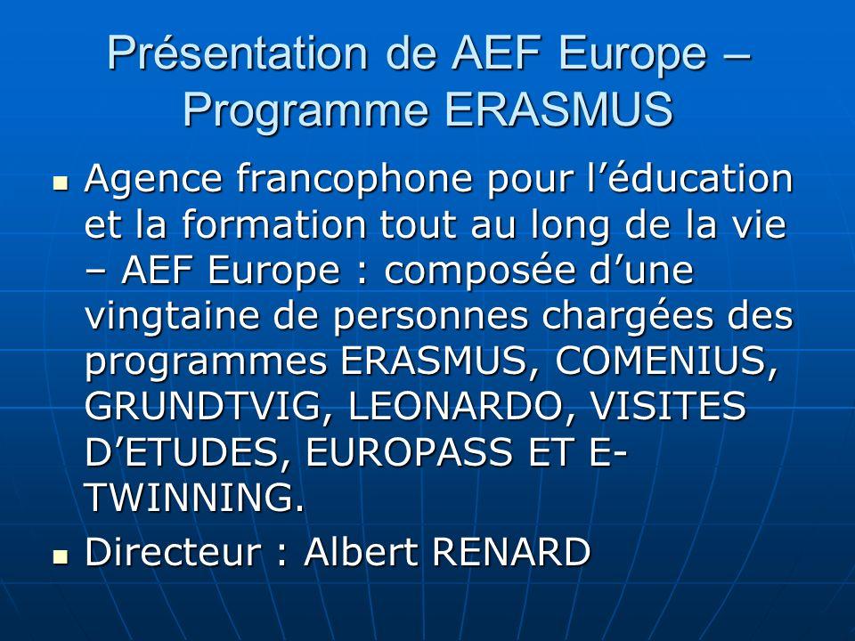 Présentation de AEF Europe – Programme ERASMUS Agence francophone pour léducation et la formation tout au long de la vie – AEF Europe : composée dune