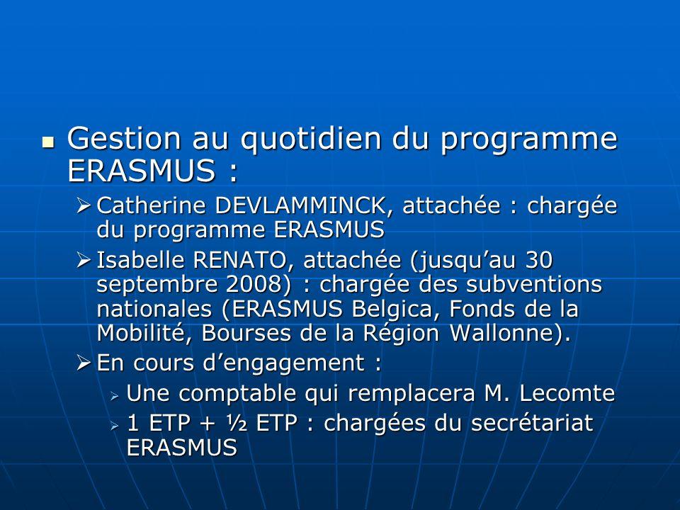Gestion au quotidien du programme ERASMUS : Gestion au quotidien du programme ERASMUS : Catherine DEVLAMMINCK, attachée : chargée du programme ERASMUS