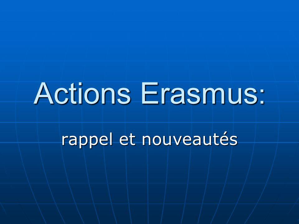 Actions Erasmus : rappel et nouveautés