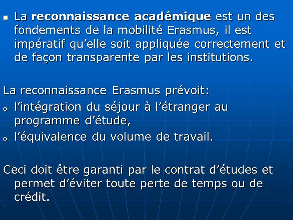 La reconnaissance académique est un des fondements de la mobilité Erasmus, il est impératif quelle soit appliquée correctement et de façon transparent