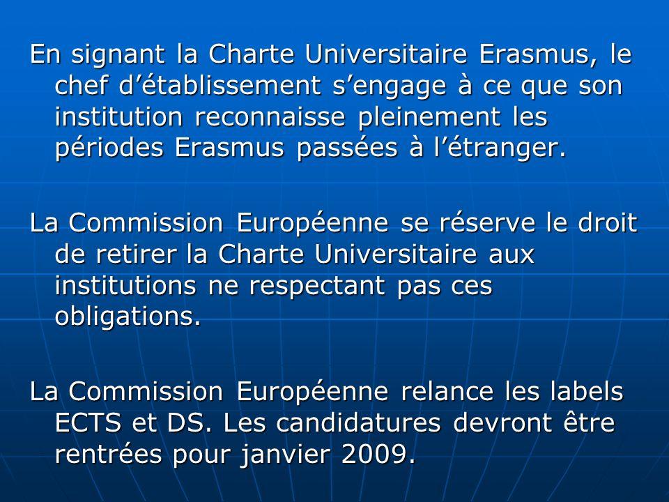 En signant la Charte Universitaire Erasmus, le chef détablissement sengage à ce que son institution reconnaisse pleinement les périodes Erasmus passée