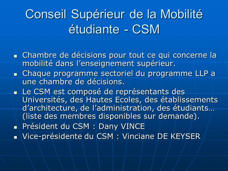 Conseil Supérieur de la Mobilité étudiante - CSM Chambre de décisions pour tout ce qui concerne la mobilité dans lenseignement supérieur. Chambre de d