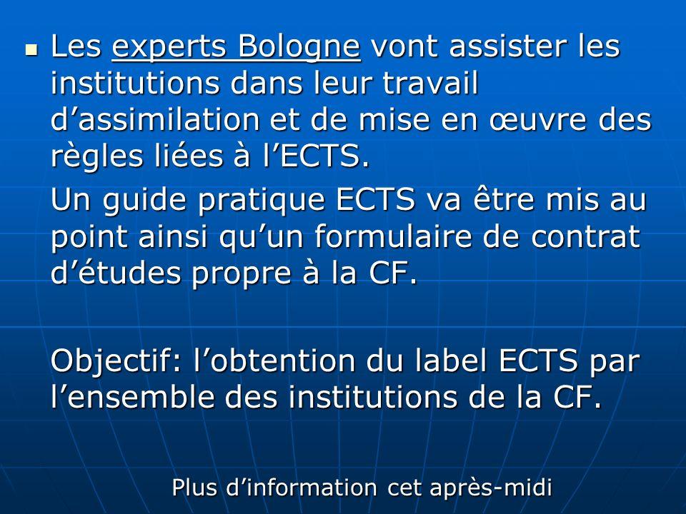 Les experts Bologne vont assister les institutions dans leur travail dassimilation et de mise en œuvre des règles liées à lECTS. Les experts Bologne v