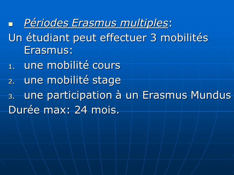 Périodes Erasmus multiples: Périodes Erasmus multiples: Un étudiant peut effectuer 3 mobilités Erasmus: 1. une mobilité cours 2. une mobilité stage 3.
