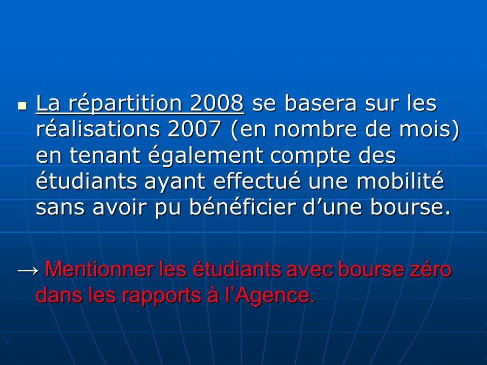 La répartition 2008 se basera sur les réalisations 2007 (en nombre de mois) en tenant également compte des étudiants ayant effectué une mobilité sans