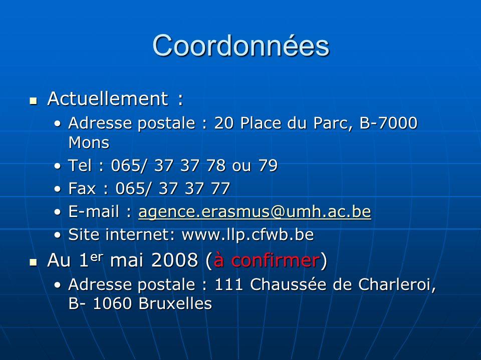 Coordonnées Actuellement : Actuellement : Adresse postale : 20 Place du Parc, B-7000 MonsAdresse postale : 20 Place du Parc, B-7000 Mons Tel : 065/ 37