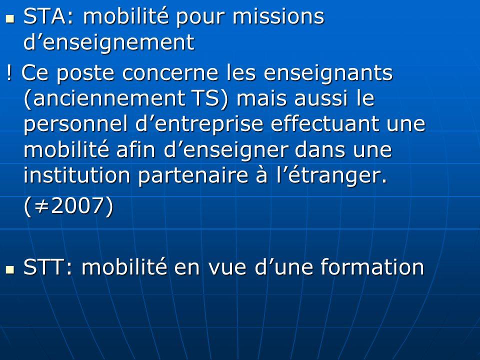 STA: mobilité pour missions denseignement STA: mobilité pour missions denseignement ! Ce poste concerne les enseignants (anciennement TS) mais aussi l