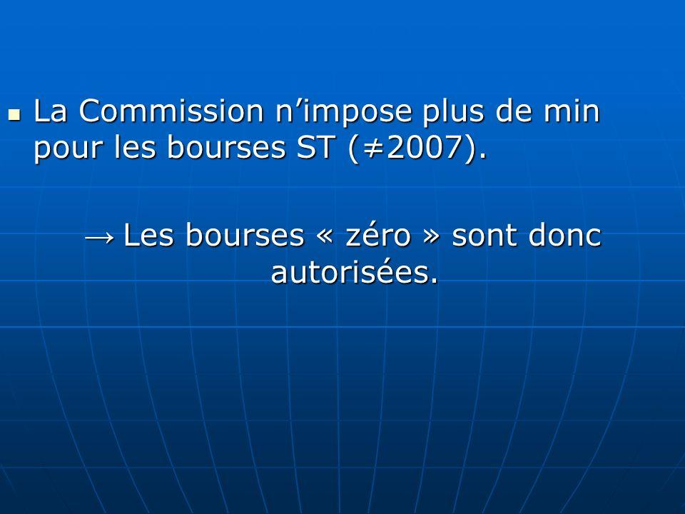 La Commission nimpose plus de min pour les bourses ST (2007). La Commission nimpose plus de min pour les bourses ST (2007). Les bourses « zéro » sont