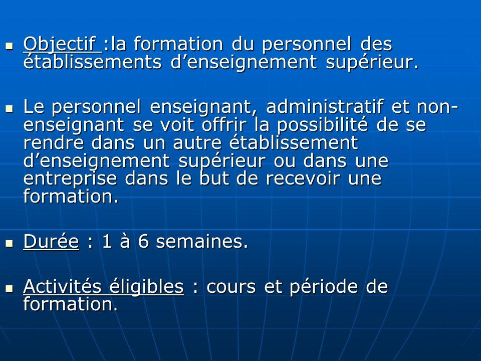 Objectif :la formation du personnel des établissements denseignement supérieur. Objectif :la formation du personnel des établissements denseignement s