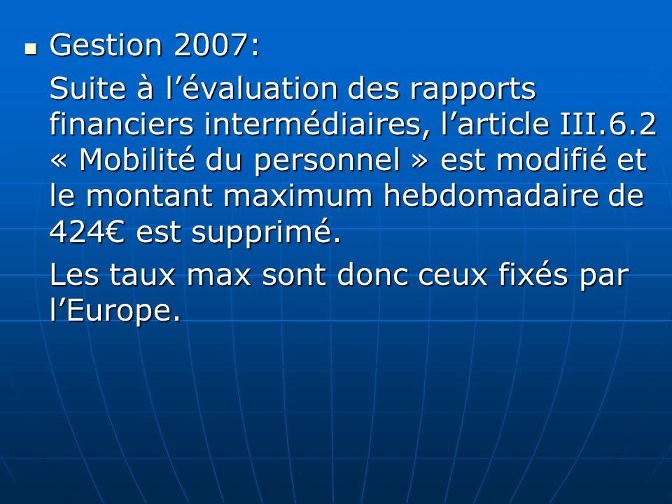 Gestion 2007: Gestion 2007: Suite à lévaluation des rapports financiers intermédiaires, larticle III.6.2 « Mobilité du personnel » est modifié et le m