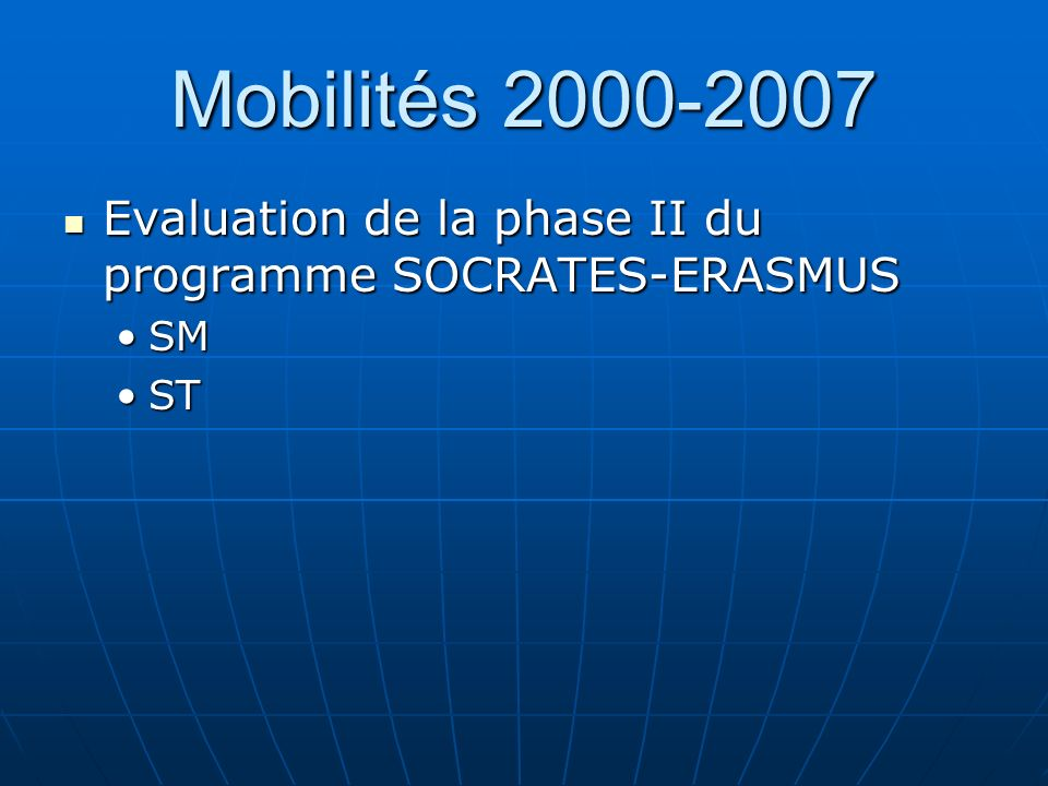 Mobilités 2000-2007 Evaluation de la phase II du programme SOCRATES-ERASMUS Evaluation de la phase II du programme SOCRATES-ERASMUS SMSM STST