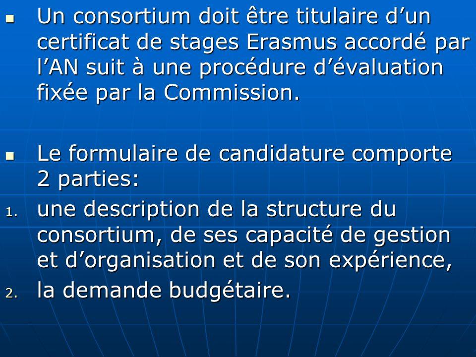 Un consortium doit être titulaire dun certificat de stages Erasmus accordé par lAN suit à une procédure dévaluation fixée par la Commission. Un consor