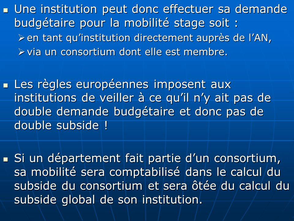 Une institution peut donc effectuer sa demande budgétaire pour la mobilité stage soit : Une institution peut donc effectuer sa demande budgétaire pour